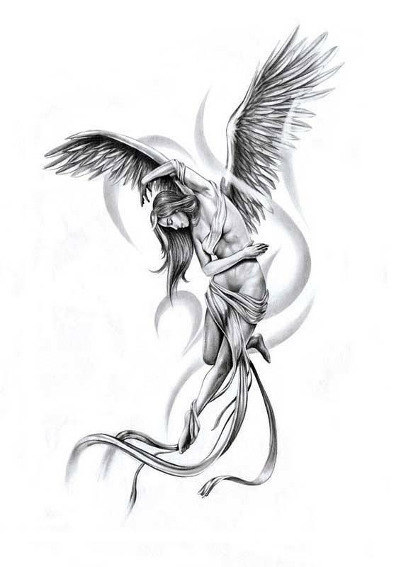 Тату ангел эскиз