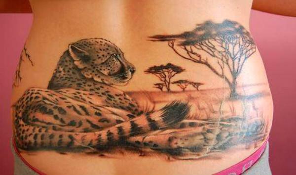 Фото гепарда тату на спине
