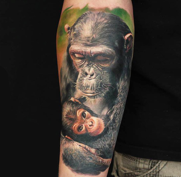 Татуировка обезьяна - значение, фото - Тату студия Барака 100